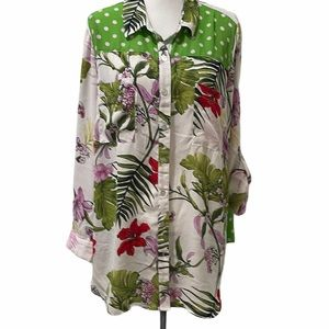 FIG AND FLOWER Button Down Floral and Polka dot